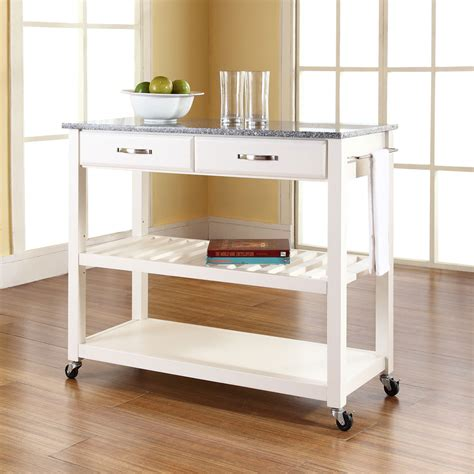 island cart kitchen solid granite top kitchen cart island with optional stool storage in white finish