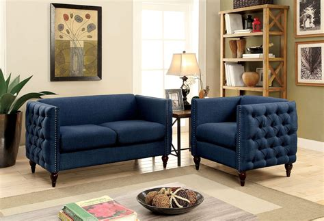 blue living room set emer blue living room set from furniture of america
