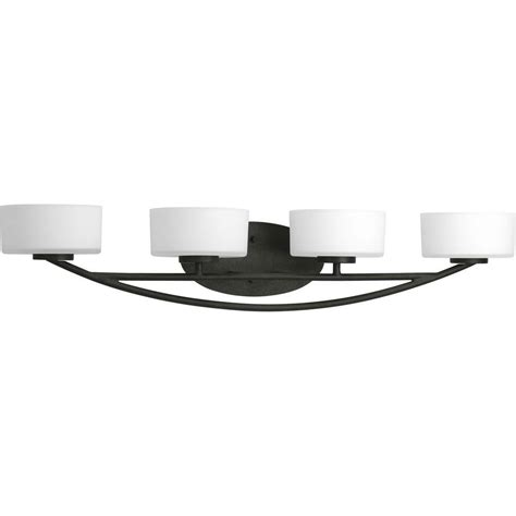 Progress Lighting Calven Collection 4 Light Brushed Nickel Bath Light P3236 09wb The Home Depot by Progress Lighting Calven Collection 4 Light Forged Black Bath Light P3236 80wb The Home Depot