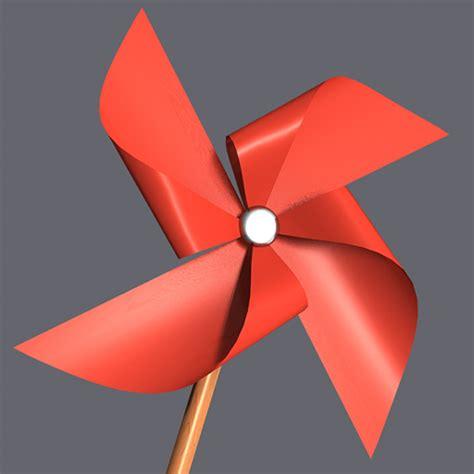Paper Windmill - paper windmill pinwheel 3d model