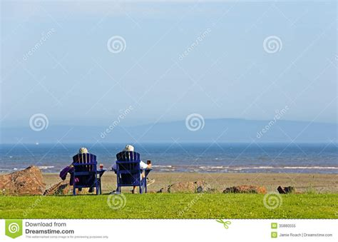 people beach chairs summer scene stock image image