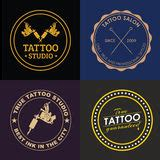tattoo needles logo set of 4 different style tattoo machines stock vector