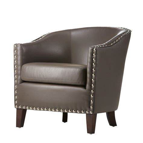 Grey Leather Club Chair by Home Decorators Collection Pebble Grey Bonded