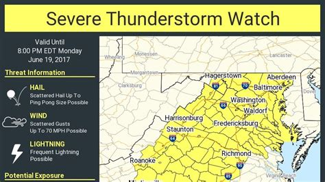 severe thunderstorm watch issued for parts of maryland wbff