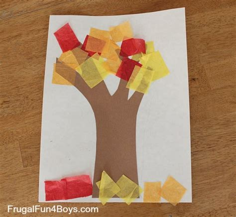 Construction Paper Fall Crafts - fall tree with tissue paper leaves