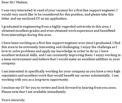 Cover Letter Opening Line by Line Support Engineer Cover Letter Exle Learnist Org