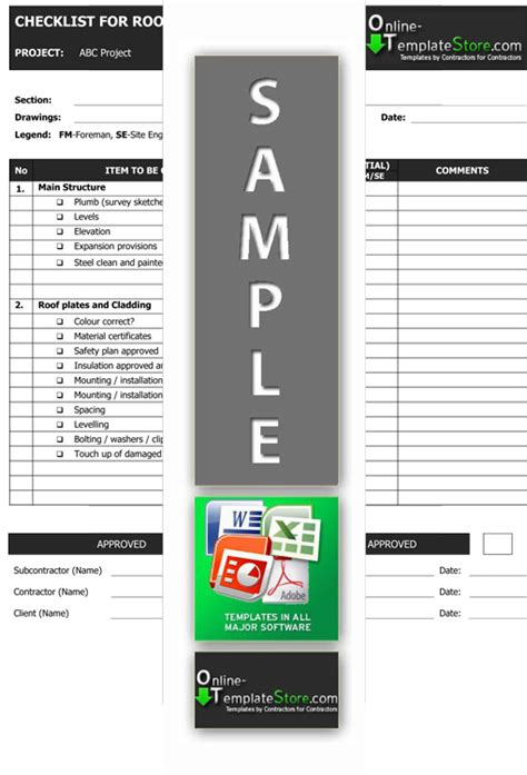 quality control construction template store