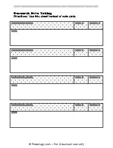 research source card template blank 3 column notes form freeology