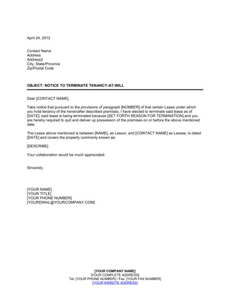 Lease Notice Letter Notice To Terminate Tenancy At Will By Landlord Template Sle Form Biztree