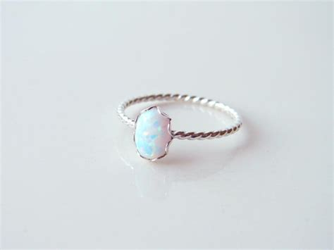small oval opal ring sterling silver twisted ring