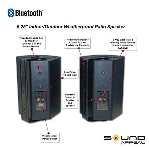 outdoor sound systems for patios bluetooth 5 25 indoor outdoor weatherproof patio speakers black pair