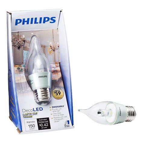 Philips Led 12 5 Watt Philips 3 5 Watt 25 Watt Ba12 Soft White 2700k Decorative Medium Base Candle Led Light Bulb