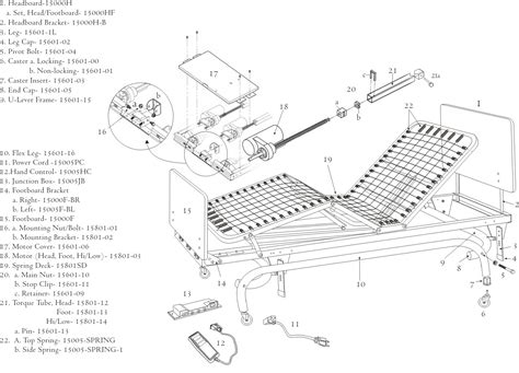 parts of the bed drive medical full electric long term care ltc bed 15801sd spring deck for full