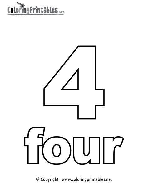 Number 4 Coloring Page Printable by Free Printable Number Four Coloring Page