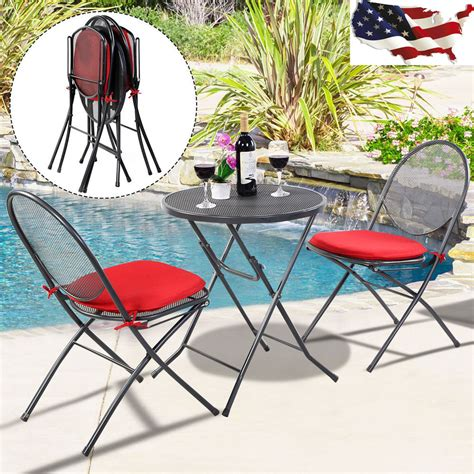 Patio Mesh 3 Pcs Folding Steel Mesh Outdoor Patio Table Chair
