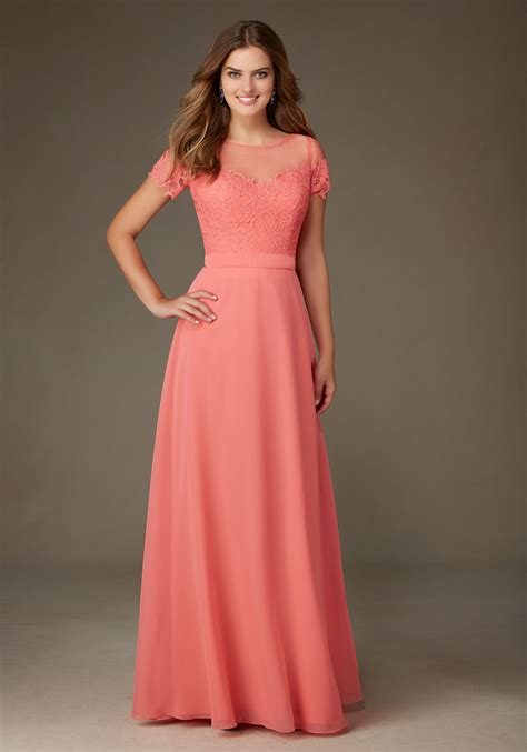 Bridesmaid Dress by Chiffon Bridesmaid Dress Featuring A Lace Bodice And