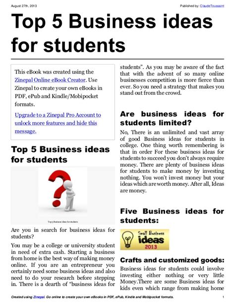 Highest In Demand For Top Mba Students by Top 5 Business Ideas For Students