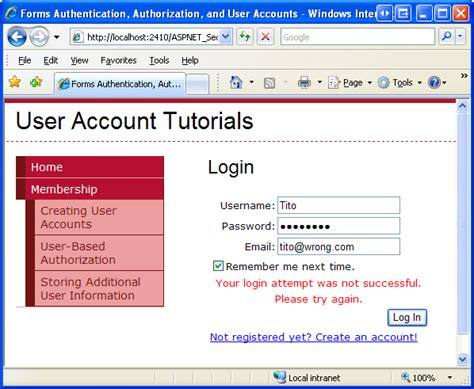 format email vb net validating user credentials against the membership user
