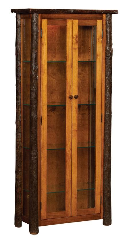 Amish Cabinet Doors Amish Rustic Hickory Curio Cabinet With Doors