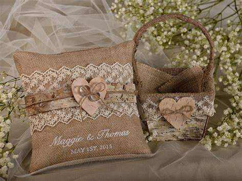 How To Make A Burlap Ring Bearer Pillow by Flower Birch Bark Basket Burlap Ring Bearer Pillow Set Shabby Chic Burlap Rustic