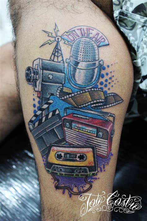 radio tattoo microphone cassette radio tattoos