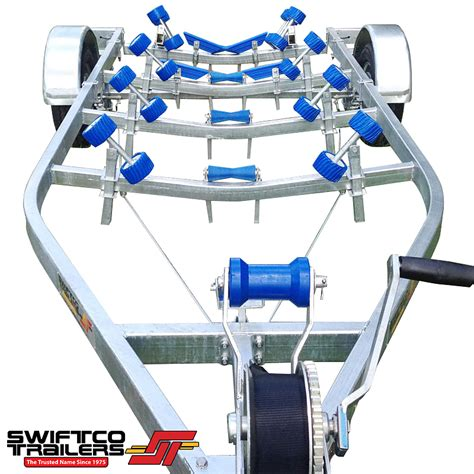 boat trailer quad rollers swiftco 5 5 metre boat trailer wobble rollers