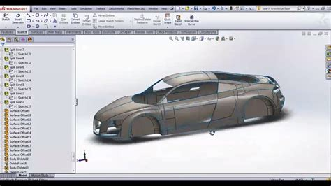 solidworks tutorial r8 modeling audi r8 car body solidworks surfacing tutorial