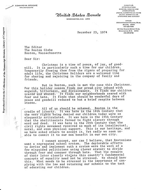 Boston Metropolitan College Letter Of Recommendation History Of School Busing In Boston Letter From Edward To Constituents In 1974