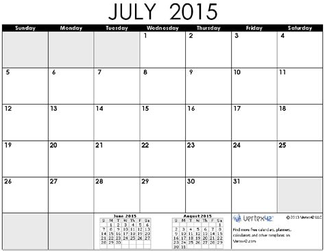 printable monthly calendar for july 2015 8 best images of july 2015 printable calendar by month