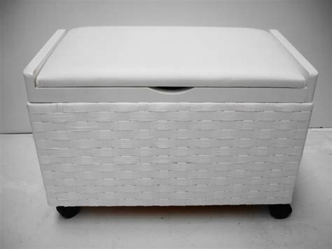 White Shabby Chic Toy Box Laundry Basket Storage Trunk Laundry Seat