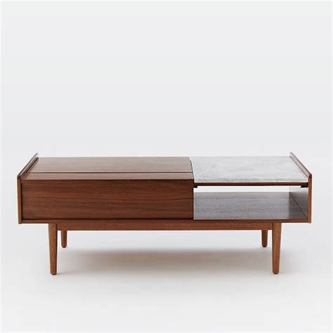 mid century pop up storage coffee table west elm
