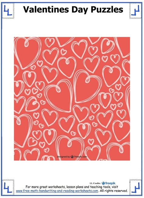 valentines puzzle day puzzles printable cut paste puzzles
