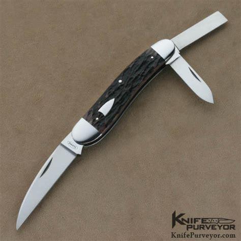 whittler knife terry davis brown bone 3 blade split back whittler