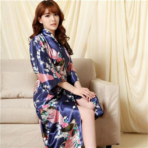 Jual Secret Robe merry pretty silk kimono bathrobe faux silk