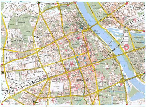 road map maps of warsaw detailed map of warsaw in maps of warsaw poland tourist map of