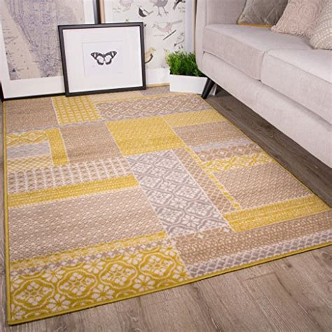 yellow living room rugs buy milan ochre mustard yellow grey beige patchwork squares traditional living room rug 120cm x