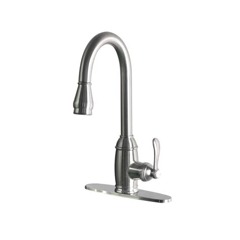 pull kitchen faucets stainless steel foret single handle pull sprayer kitchen faucet in stainless steel ss whus591l1 the