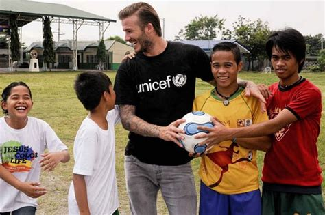 david beckham charity biography david beckham visits unicef filipino children s shelter