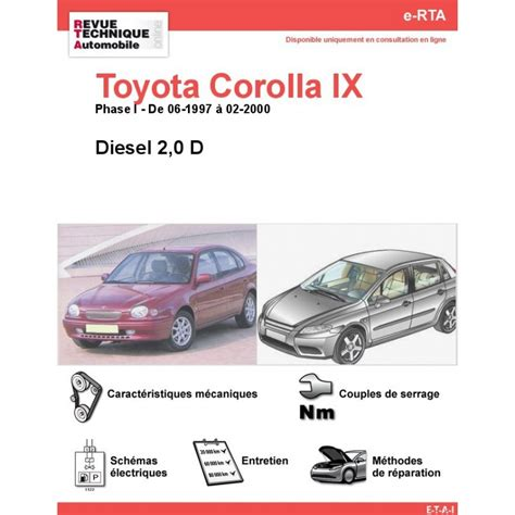 toyota site officiel revue technique toyota corolla ix diesel rta site