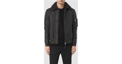 Olin Coat lyst allsaints olin leather aviator jacket in gray for