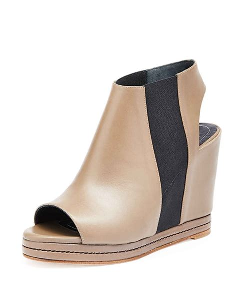 Sneaker Wedges Krem open toe leather wedge bootie topuklu krem topuklu