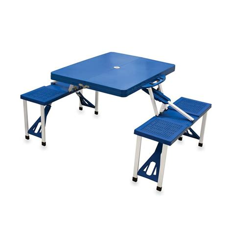 Folding Plastic Picnic Table Shop Picnic Time 2 Ft 1 4 5 In Blue Plastic Square Folding Picnic Table At Lowes