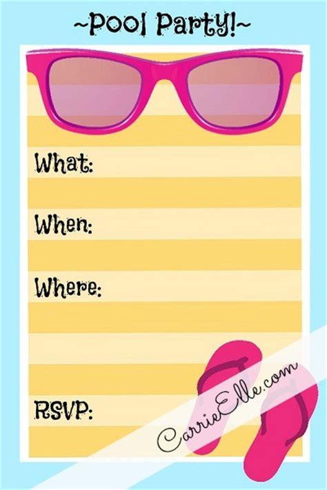 free pool invitation template printable 8 best images of rainbow pool invitation printable