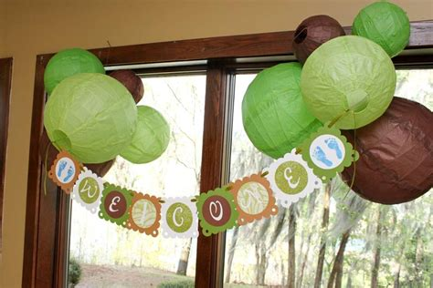 brown and green baby shower decorations green brown and white polka dots baby shower ideas