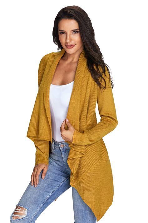Sweater Cardigans 11 us 10 93 mustard waterfall sleeve sweater cardigan dropshipping