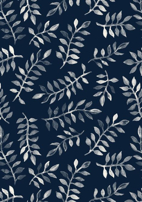 cute navy pattern white leaves on navy a hand painted pattern art print by