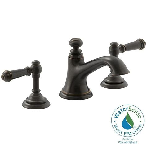 kohler rubbed bronze kitchen faucet kohler artifacts 8 in widespread 2 handle bell design bathroom faucet in rubbed bronze with