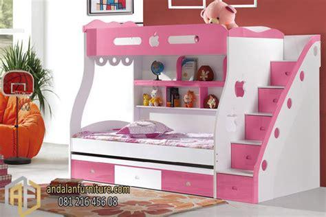 Ranjang Sorong Frozen tempat tidur tingkat anak kembar perempuan minimalis