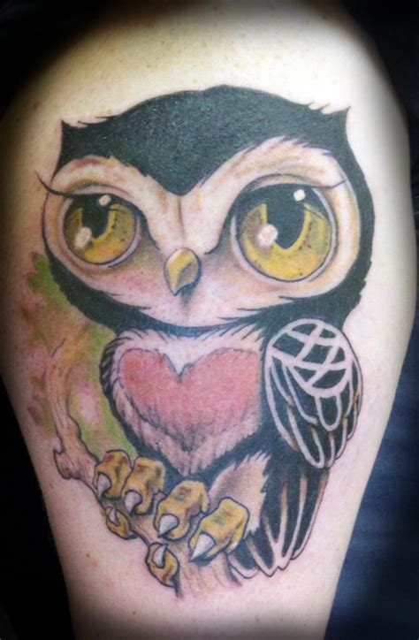 cartoon owl tattoo designs colorful owl
