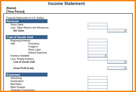 doc 12751650 personal profit and loss statement template